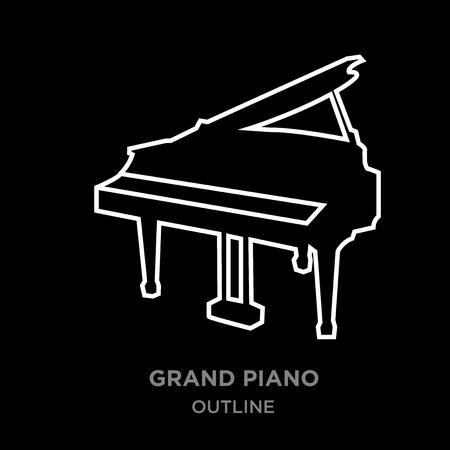 A white border grand piano outline on black background, vector illustration