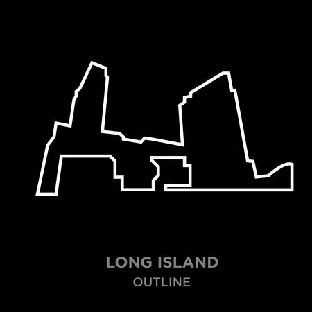 A white border long island outline on black background, vector illustration