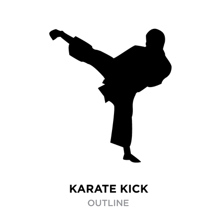 A karate kick silhouette on white background, vector illustration