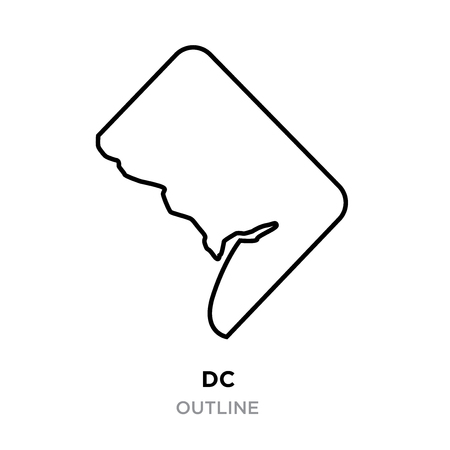A DC outline on white background, vector illustration