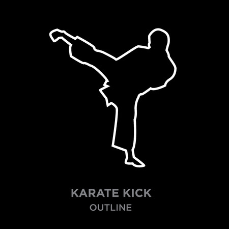 A white border karate kick outline on black background, vector illustration
