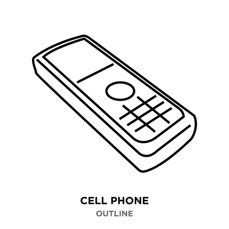 A cell phone outline images on white background Illustration