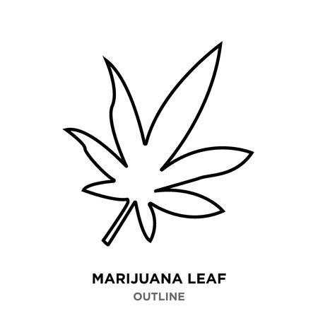 A marijuana leaf outline on white background