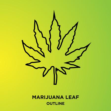 A marijuana leaf outline on green background