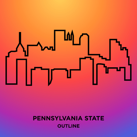 A Pennsylvania state outline on colorful background Illustration