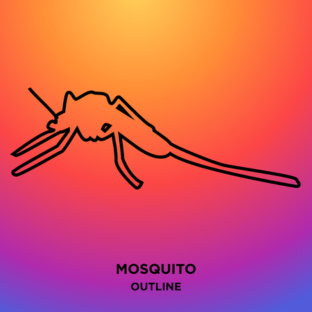 A mosquito outline on purple background