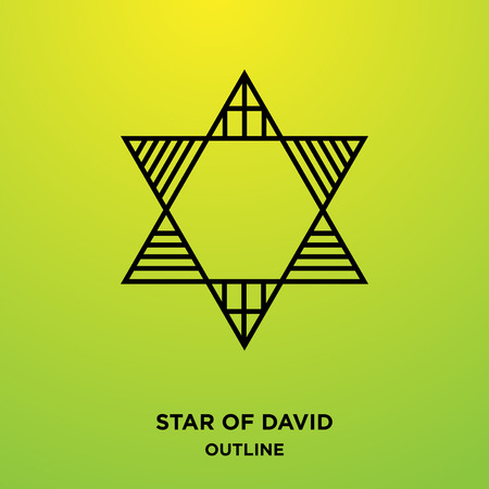 A star of David outline on green background,with the lines in it