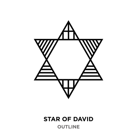 A star of David outline on white background, with the lines in it Illustration