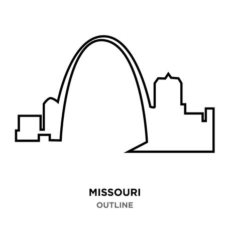 A Missouri outline on white background Vettoriali