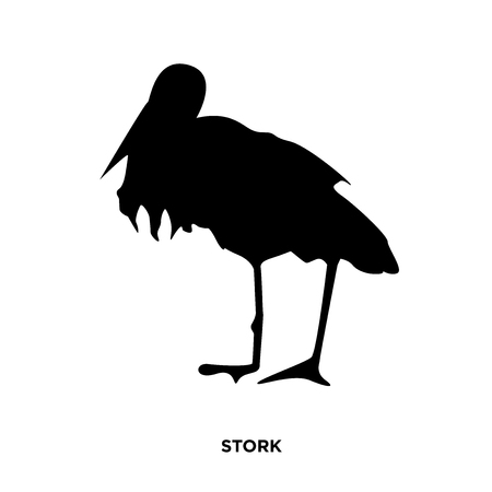 A stork silhouette on white background, in black  イラスト・ベクター素材