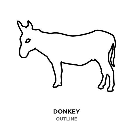 A donkey outline on white background Illustration