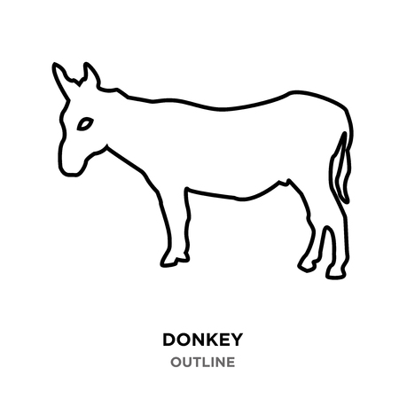 A donkey outline on white background Vettoriali