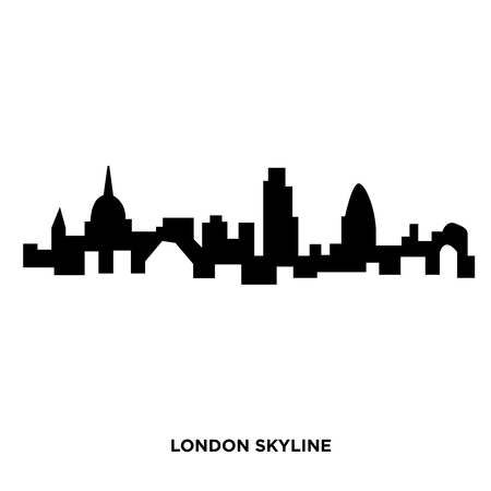 A london skyline silhouette on white background, in black  イラスト・ベクター素材