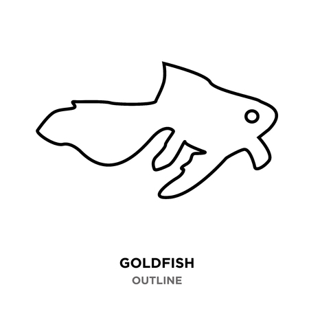 A goldfish outline on white background