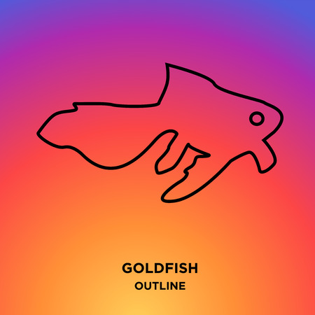 A goldfish outline on colorful background