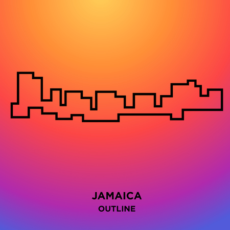 Jamaica outline on colorful background