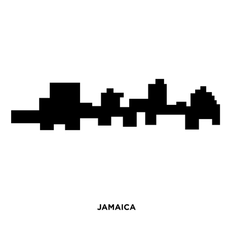 Jamaica silhouette on white background, in black presentation.