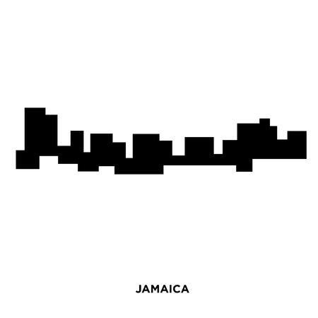 Jamaica silhouette on white background, in black presentation.