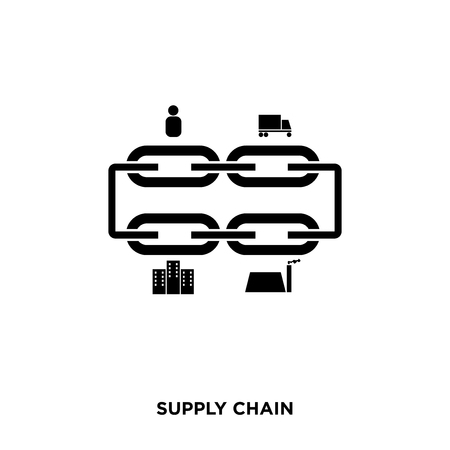 Supply chain icon on a white background in black color Banque d'images - 98970841