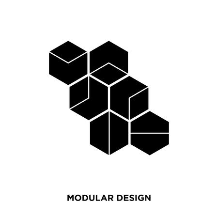 Icona del design modulare su uno sfondo bianco in colore nero Vettoriali