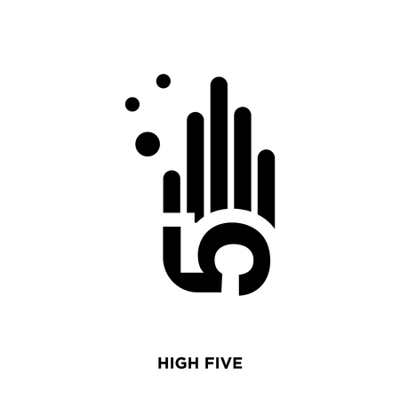 High five icon on a white background with a hand figure