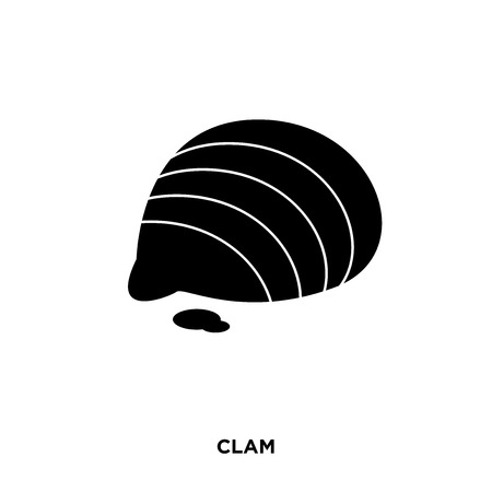 Clam icon on a white background in black color