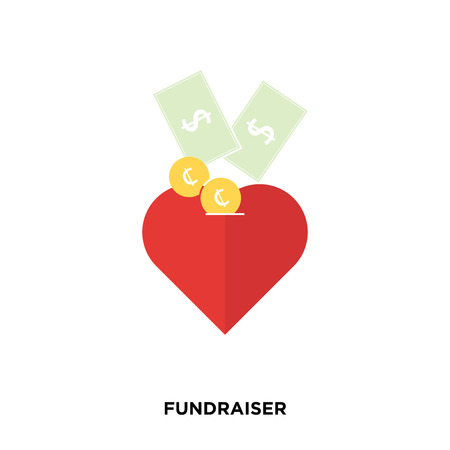 fundraiser icon on white background, in red, vector icon illustration