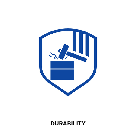 durability icon on white background, in blue, vector icon illustration