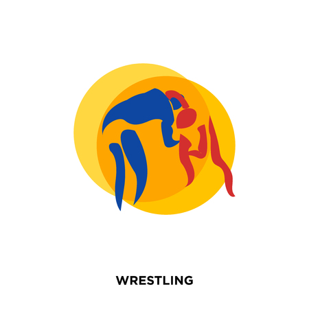 wrestling icon on white background, in orange, vector icon illustration Illustration