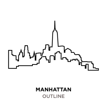 outline of manhattan on white background