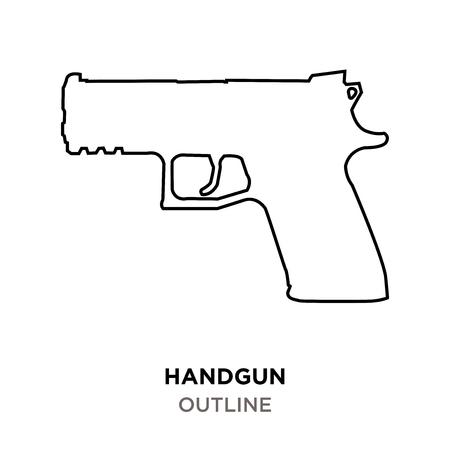 handgun outline on white background