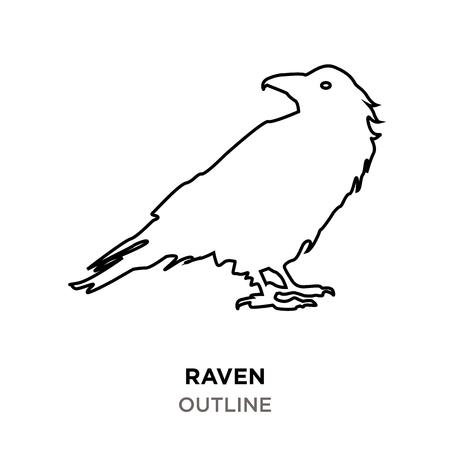 raven outline on white background