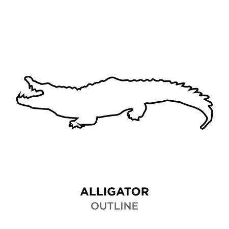 alligator outline on white background