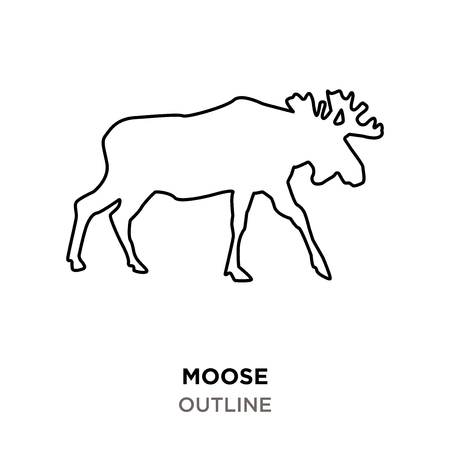 moose outline on white background  イラスト・ベクター素材