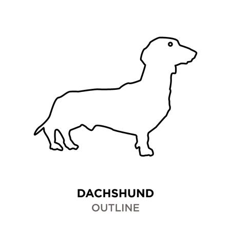 Dachshund outline on white background.