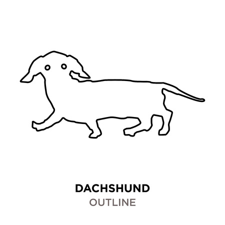 dachshund outline on white background