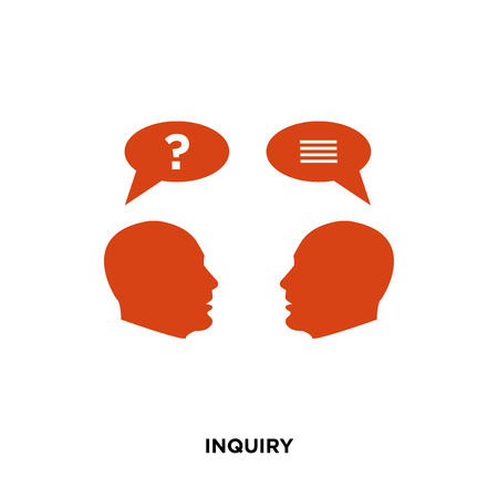 inquiry icon isolated on white background for your web, mobile and app design Illustration