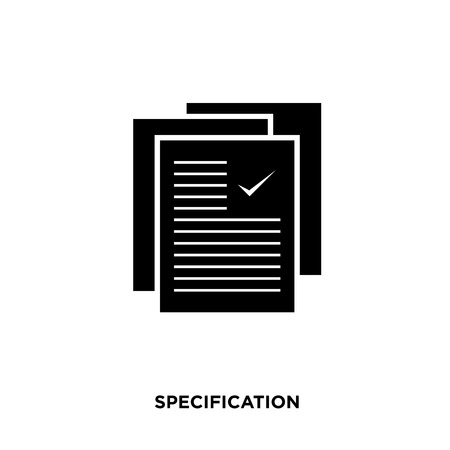 Specification icon isolated on white background. Ilustrace