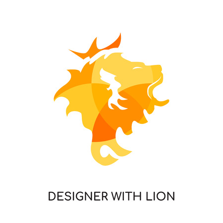designer with lion logo isolated on white background for your web, mobile and app design Illustration