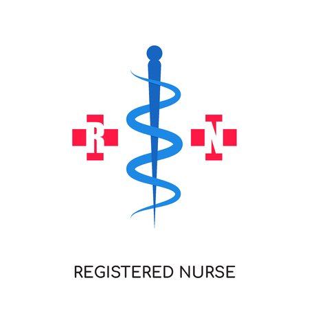 registered nurse logo isolated on white background for your web, mobile and app design