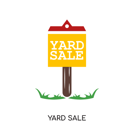 Yard sale image isolated on white background. Illustration