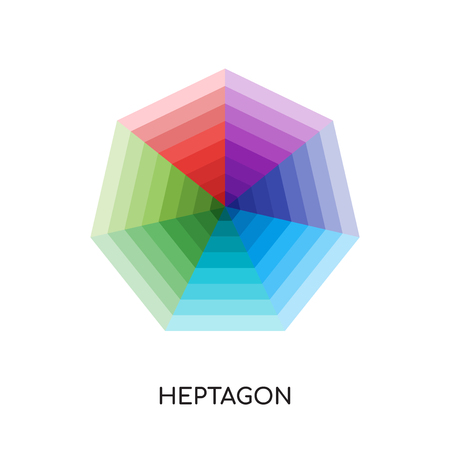 Heptagon with various colors isolated on white background. 向量圖像