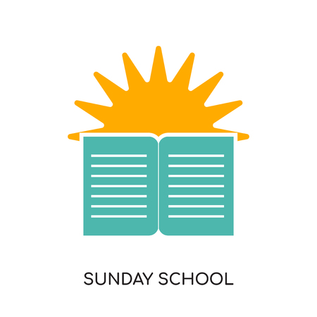 Sunday school concept with book and sun design isolated on white background.