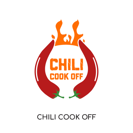 chili cook off logo isolated on white background for your web, mobile and app design  イラスト・ベクター素材