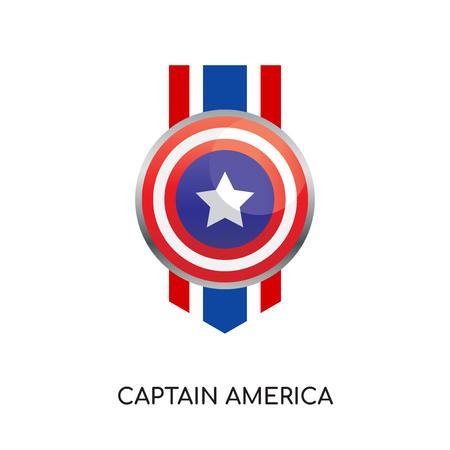 Logo Captain America isolé sur fond blanc pour la conception de vos sites Web, mobiles et applications