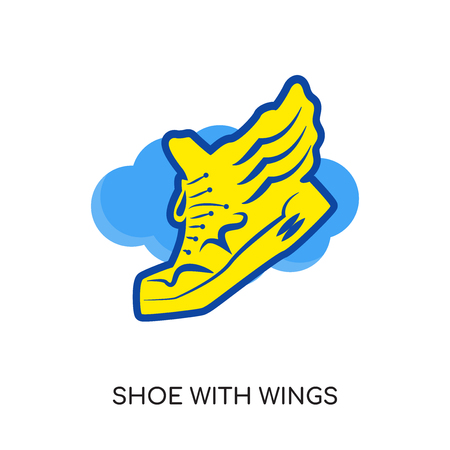 shoe with wings logo isolated on white background for your web, mobile and app design Illustration