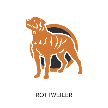 rottweiler logo isolated on white background for your web, mobile and app design