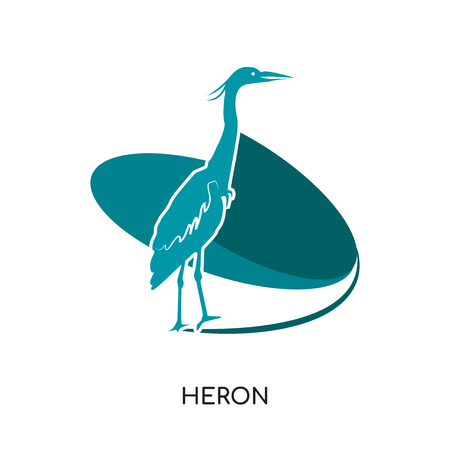heron logo isolated on white background for your web, mobile and app design