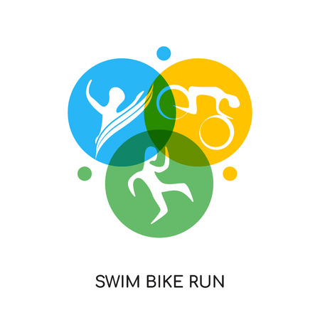 swim bike run logo isolated on white background for your web, mobile and app design