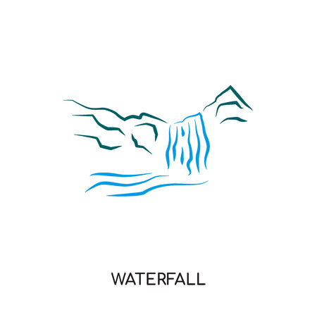waterfall logo isolated on white background for your web, mobile and app design Иллюстрация